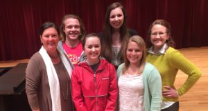 Dr. Petra Kern, Garrett Weeks, Emma Powers, Holly Hankin, Madison Wheland, and Dr. Darcy DeLoach