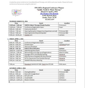 #SWAMTA16 Janice's schedule